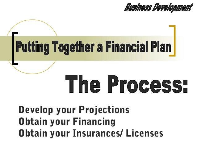 Develop your Projections Obtain your Financing Obtain your Insurances/ Licenses