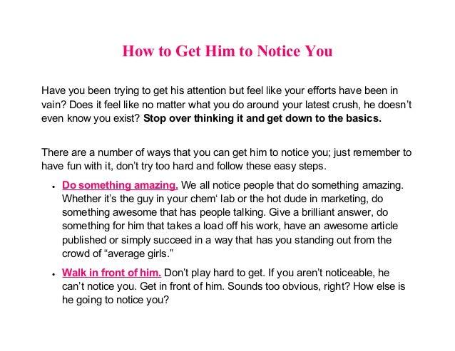 How Do You Get A Man To Notice You