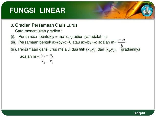 FUNGSI LINEAR3. Gradien Persamaan Garis Lurus    Cara menentukan gradien :(i). Persamaan bentuk y = mx+c, gradiennya adala...