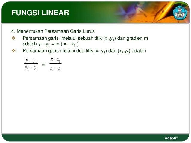 FUNGSI LINEAR4. Menentukan Persamaan Garis Lurus Persamaan garis melalui sebuah titik (x1,y1) dan gradien m     adalah y ...