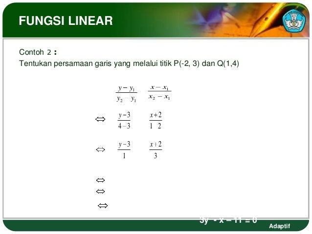 FUNGSI LINEARContoh 2 :Tentukan persamaan garis yang melalui titik P(-2, 3) dan Q(1,4)                                    ...