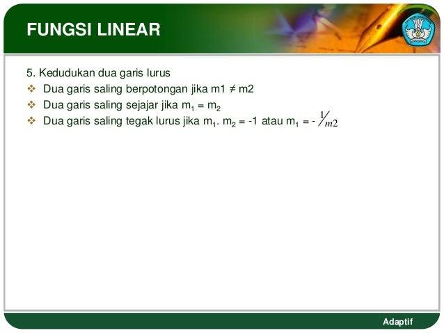 FUNGSI LINEAR5. Kedudukan dua garis lurus Dua garis saling berpotongan jika m1 ≠ m2 Dua garis saling sejajar jika m1 = m...