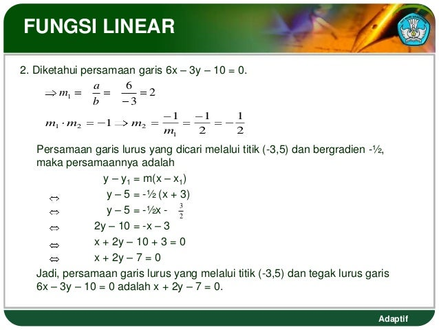 FUNGSI LINEAR2. Diketahui persamaan garis 6x – 3y – 10 = 0.               a    6        m1               2               b...
