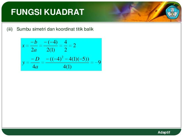 FUNGSI KUADRAT(iii) Sumbu simetri dan koordinat titik balik             b      ( 4)     4       x                         ...