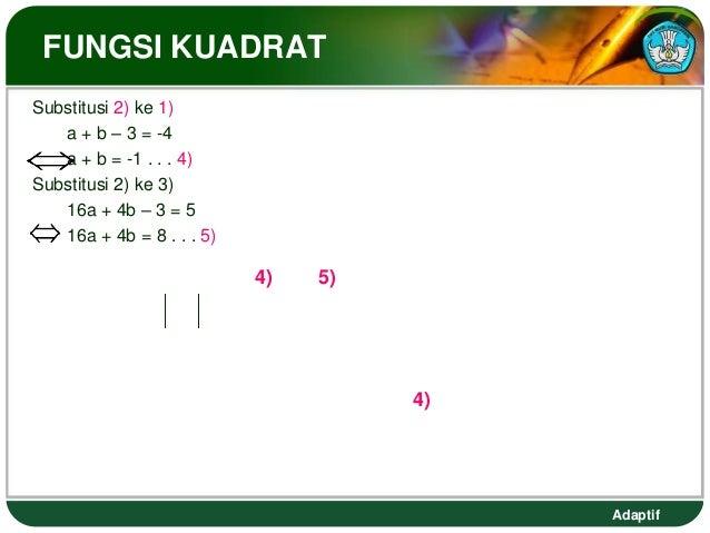 FUNGSI KUADRATSubstitusi 2) ke 1)   a + b – 3 = -4   a + b = -1 . . . 4)Substitusi 2) ke 3)   16a + 4b – 3 = 5   16a + 4b ...