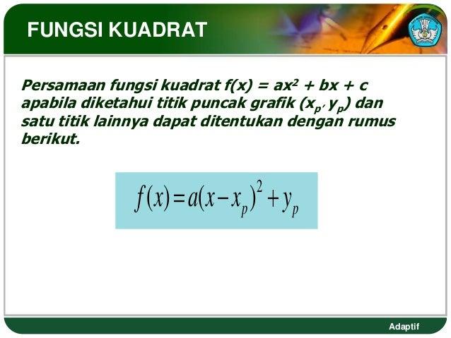 FUNGSI KUADRATPersamaan fungsi kuadrat f(x) = ax2 + bx + capabila diketahui titik puncak grafik (xp' yp) dansatu titik lai...