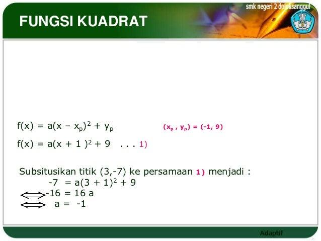 FUNGSI KUADRAT                 Contoh :Tentukan persamaan fungsi kuadrat yang titik puncaknya (-1, 9)                     ...