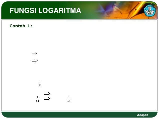 FUNGSI LOGARITMAContoh 1 :   Nyatakan persamaan berikut ke dalam bentuk logaritma yang                                ekiv...