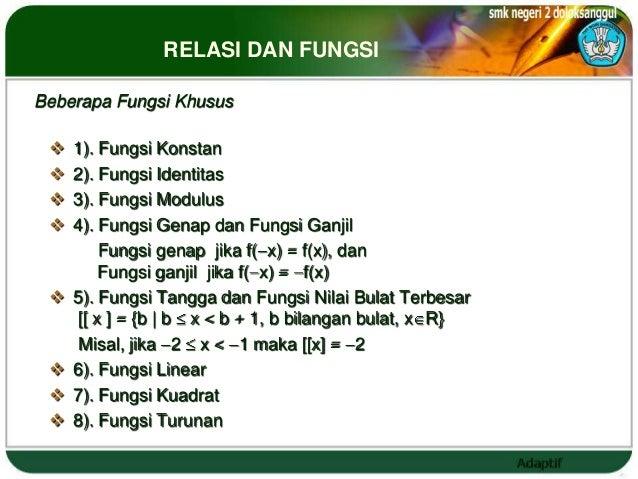 RELASI DAN FUNGSIBeberapa Fungsi Khusus    1). Fungsi Konstan    2). Fungsi Identitas    3). Fungsi Modulus    4). Fun...