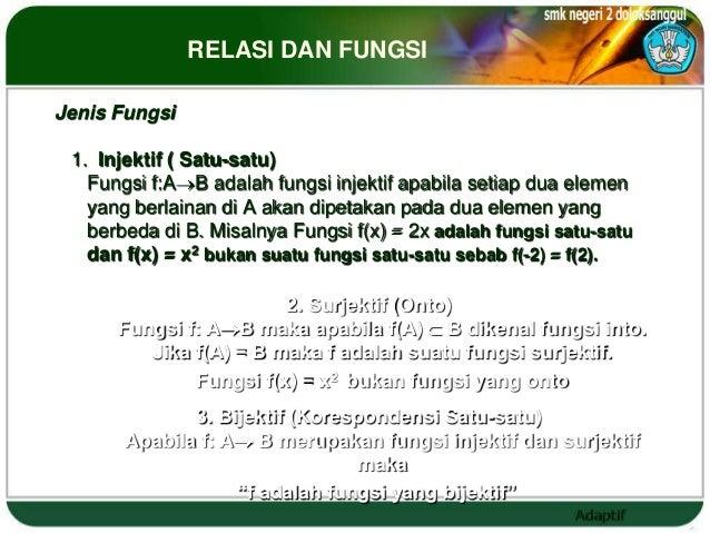 RELASI DAN FUNGSIJenis Fungsi 1. Injektif ( Satu-satu)   Fungsi f:A B adalah fungsi injektif apabila setiap dua elemen   y...