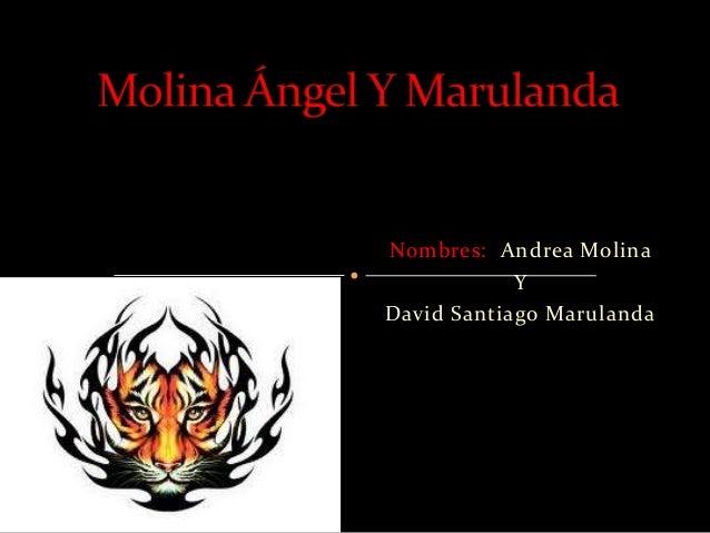 Nombres: Andrea Molina            YDavid Santiago Marulanda