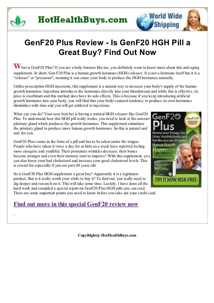 GenF20 Plus Review - Is GenF20 HGH Pill a             Great Buy? Find Out NowWhat is GenF20 Plus? If you are a baby boomer...