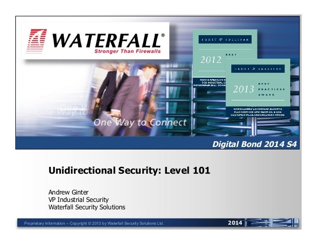 UNIDIRECTIONAL SECURITY GATEWAYS™  Digital Bond 2014 S4  Unidirectional Security: Level 101 Andrew Ginter VP Industrial Se...