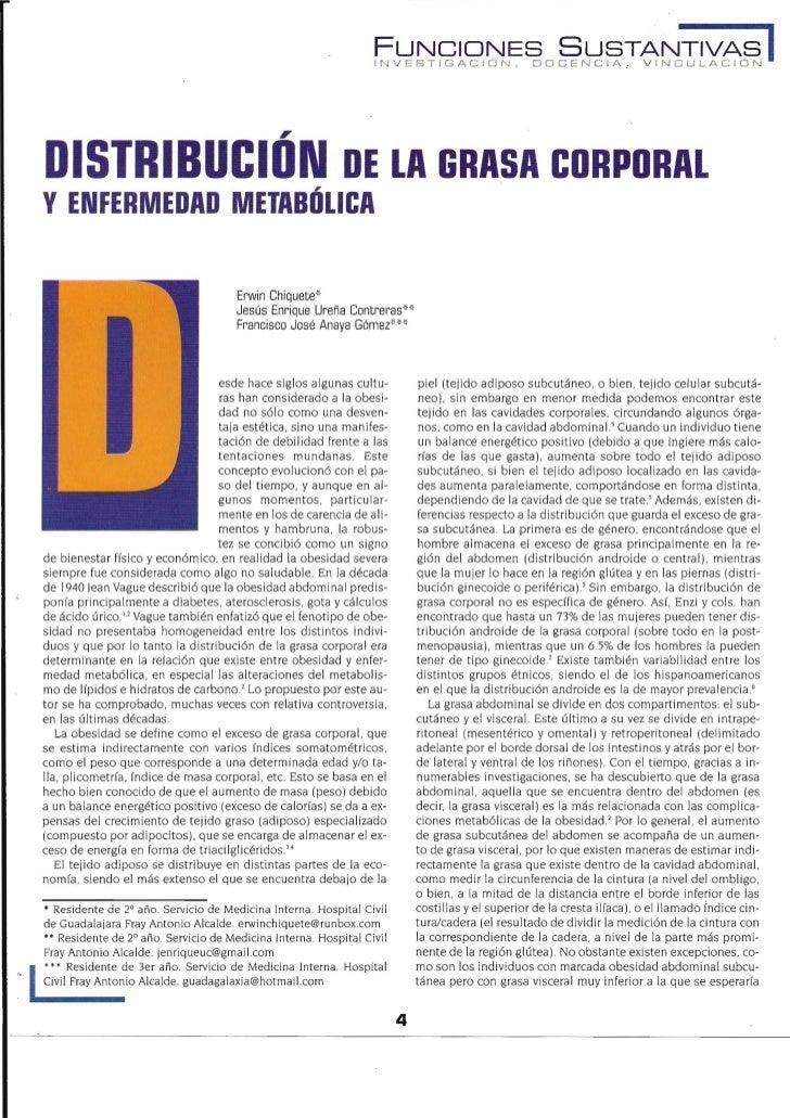 DISTRIBUCION DE LA GRASA CORPORAL YENFERMEDAD METABDLICA                          Erwin Chiquete*                         ...