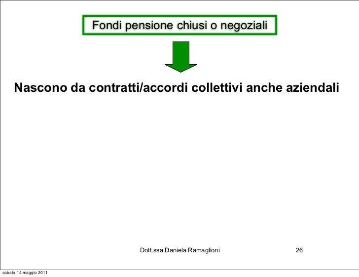 Fondi pensione chiusi o negoziali     Nascono da contratti/accordi collettivi anche aziendali                             ...