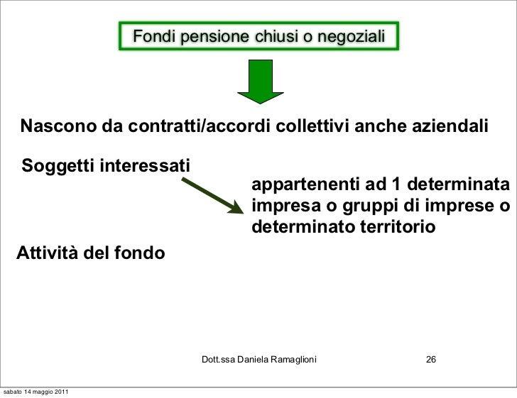 Fondi pensione chiusi o negoziali     Nascono da contratti/accordi collettivi anche aziendali     Soggetti interessati    ...