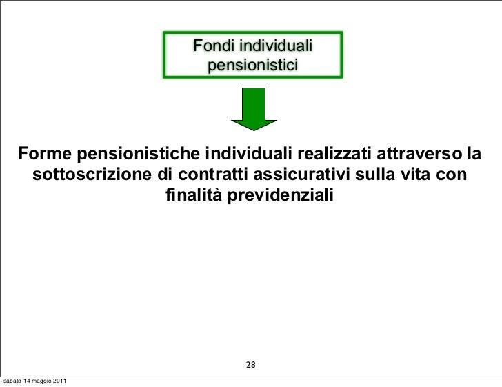 Fondi individuali                          pensionistici    Forme pensionistiche individuali realizzati attraverso la     ...