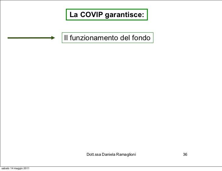 La COVIP garantisce:                        Il funzionamento del fondo                              Dott.ssa Daniela Ramag...