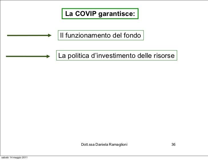 La COVIP garantisce:                        Il funzionamento del fondo                        La politica d'investimento d...