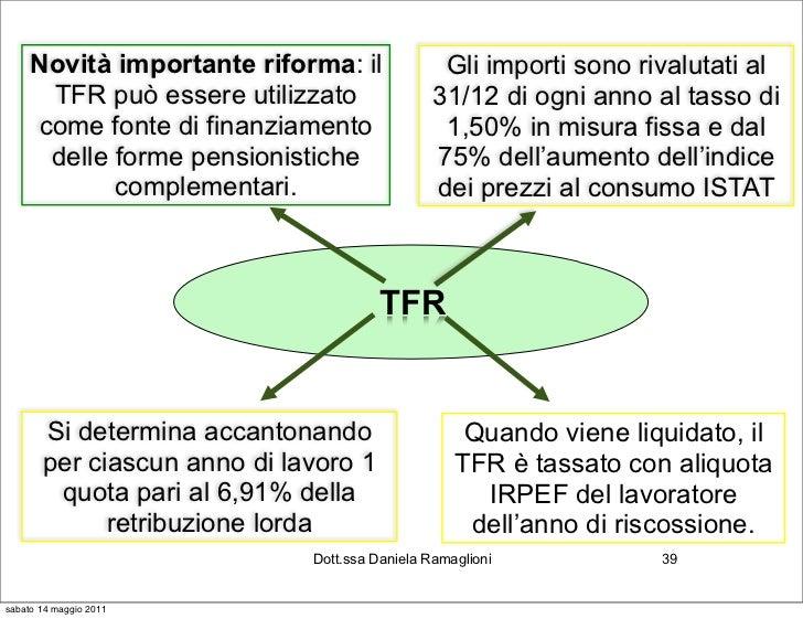 Novità importante riforma: il              Gli importi sono rivalutati al      TFR può essere utilizzato                31...