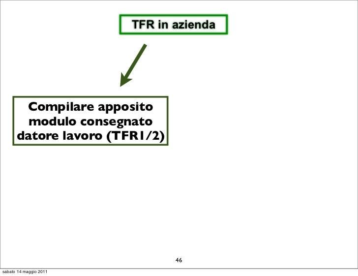 TFR in azienda       Compilare apposito        modulo consegnato      datore lavoro (TFR1/2)                              ...