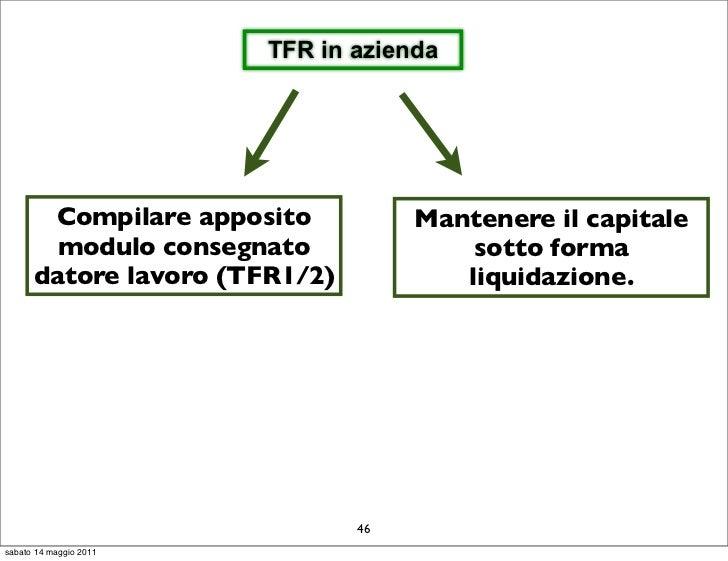 TFR in azienda       Compilare apposito           Mantenere il capitale        modulo consegnato               sotto forma...