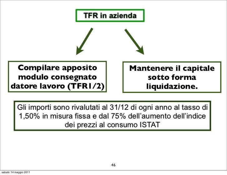 TFR in azienda       Compilare apposito                     Mantenere il capitale        modulo consegnato                ...