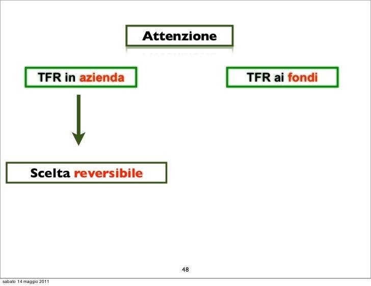 Attenzione               TFR in azienda                TFR ai fondi            Scelta reversibile                         ...