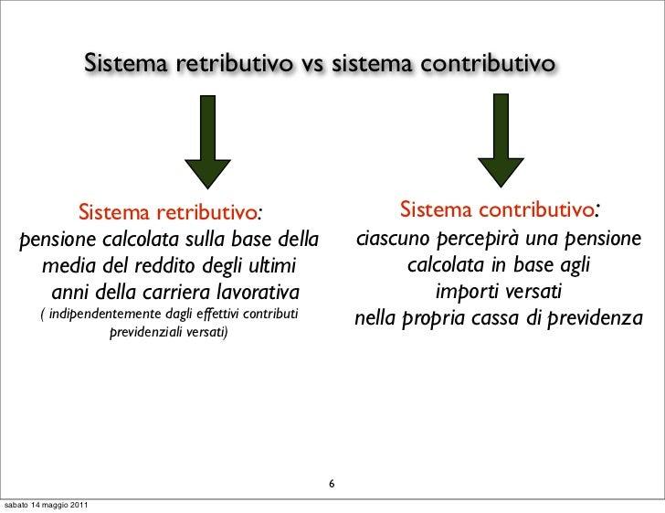 Sistema retributivo vs sistema contributivo         Sistema retributivo:                                      Sistema cont...