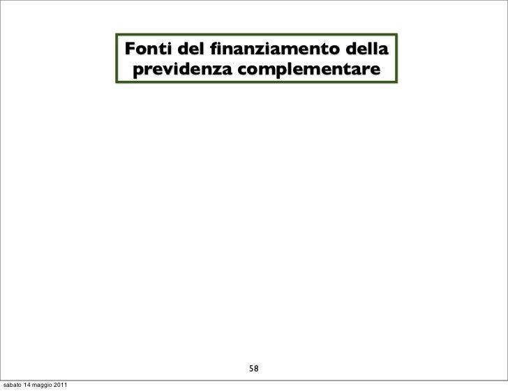 Fonti del finanziamento della                         previdenza complementare                                     58sabato...