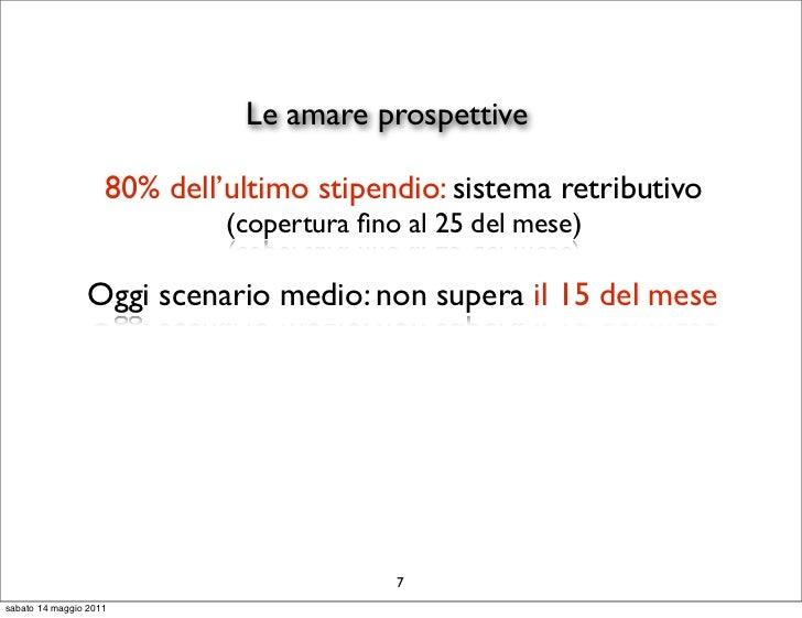 Le amare prospettive                    80% dell'ultimo stipendio: sistema retributivo                             (copert...