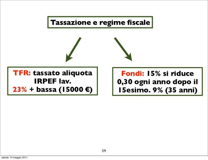 Tassazione e regime fiscale        TFR: tassato aliquota              Fondi: 15% si riduce             IRPEF lav.          ...