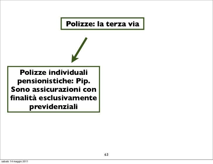 Polizze: la terza via        Polizze individuali       pensionistiche: Pip.      Sono assicurazioni con      finalità esclu...
