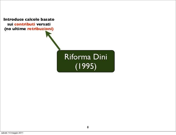 Introduce calcolo basato    sui contributi versati   (no ultime retribuzioni)                              Riforma Dini   ...