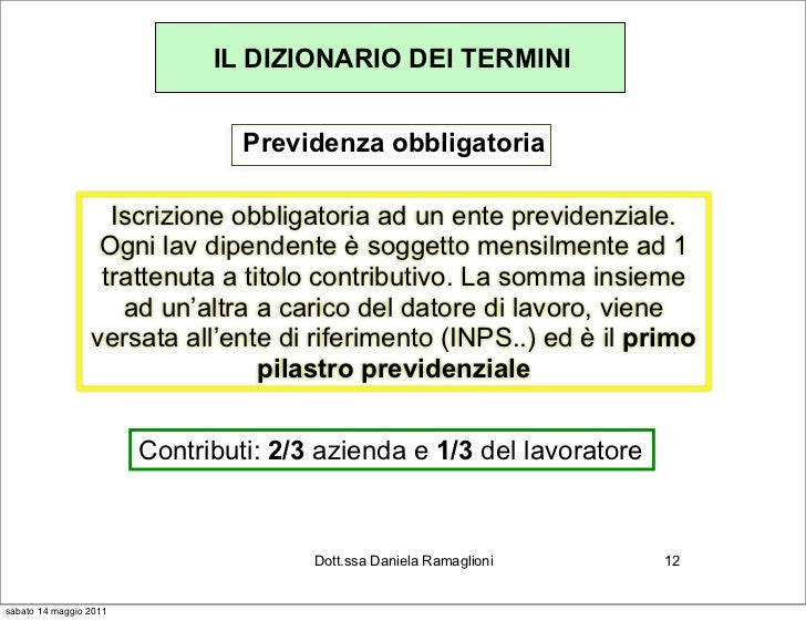 IL DIZIONARIO DEI TERMINI                                 Previdenza obbligatoria                   Iscrizione obbligatori...