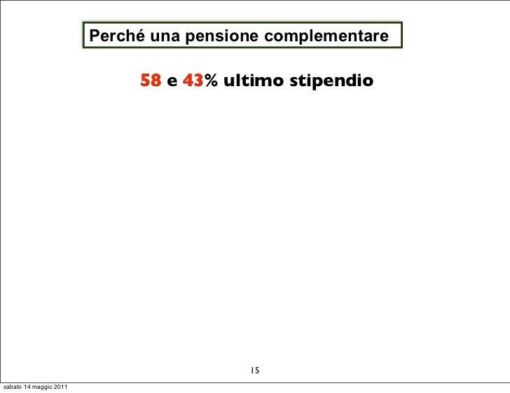 Perché una pensione complementare                             58 e 43 ultimo stipendio                                  43...