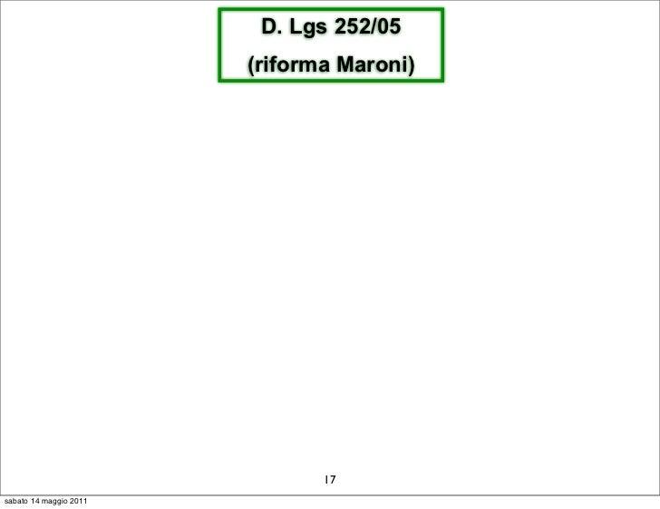 D. Lgs 252/05                        (riforma Maroni)                               17sabato 14 maggio 2011