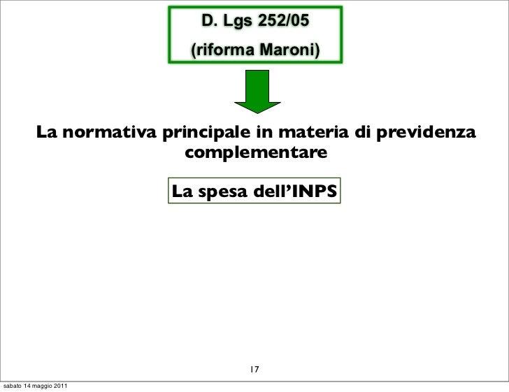 D. Lgs 252/05                          (riforma Maroni)          La normativa principale in materia di previdenza         ...