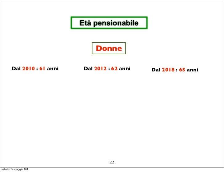 Età pensionabile                                 Donne       Dal 2010 : 61 anni    Dal 2012 : 62 anni   Dal 2018 : 65 anni...