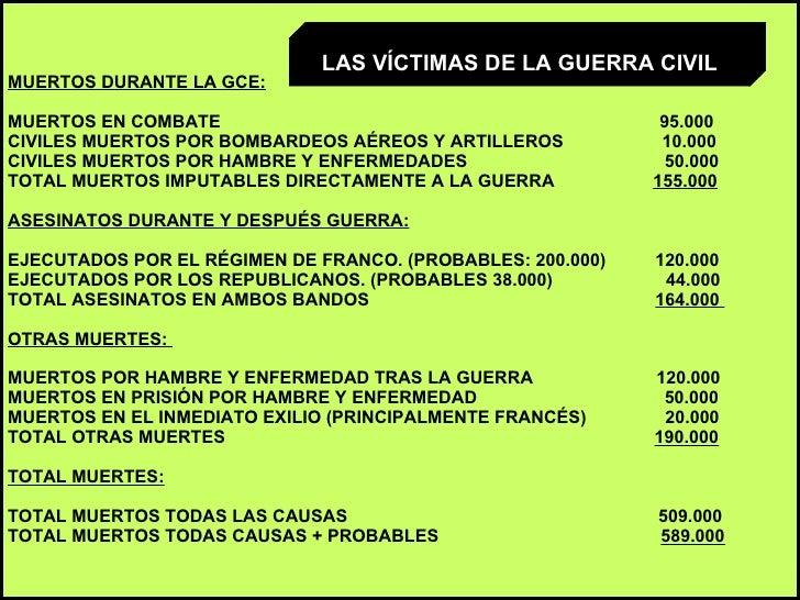 MUERTOS DURANTE LA GCE: MUERTOS EN COMBATE  95.000  CIVILES MUERTOS POR BOMBARDEOS AÉREOS Y ARTILLEROS  10.000  CIVILES MU...
