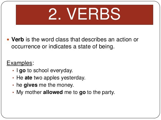 Verbs examples with meaning