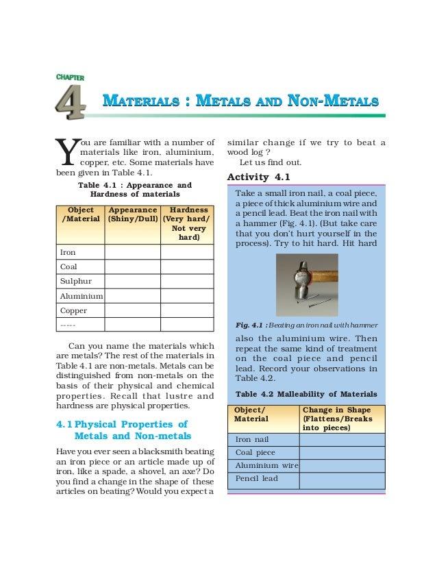 8 materials - metals and non-metals