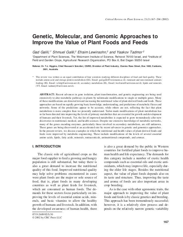 Critical Reviews in Plant Sciences, 21(3):167–204 (2002)Genetic, Molecular, and Genomic Approaches toImprove the Value of ...