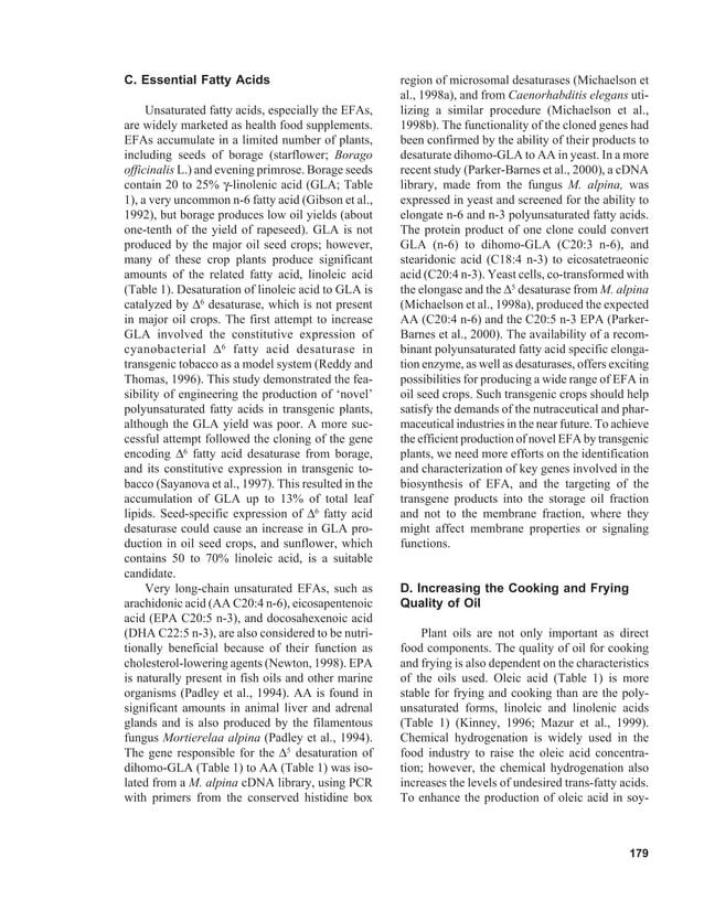 C. Essential Fatty Acids                              region of microsomal desaturases (Michaelson et                     ...