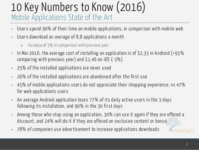 MedTech 10 Key Numbers to Know (2016) • Users spend 90% of their time on mobile applications, in comparison with mobile we...