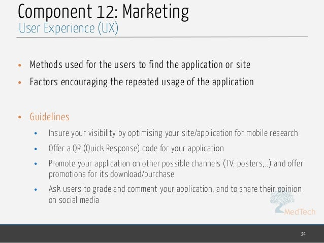 MedTech Component 12: Marketing • Methods used for the users to find the application or site • Factors encouraging the rep...
