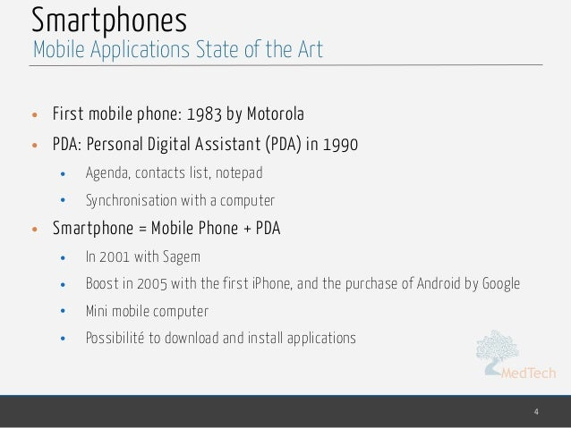 MedTech Smartphones • First mobile phone: 1983 by Motorola • PDA: Personal Digital Assistant (PDA) in 1990 • Agenda, conta...