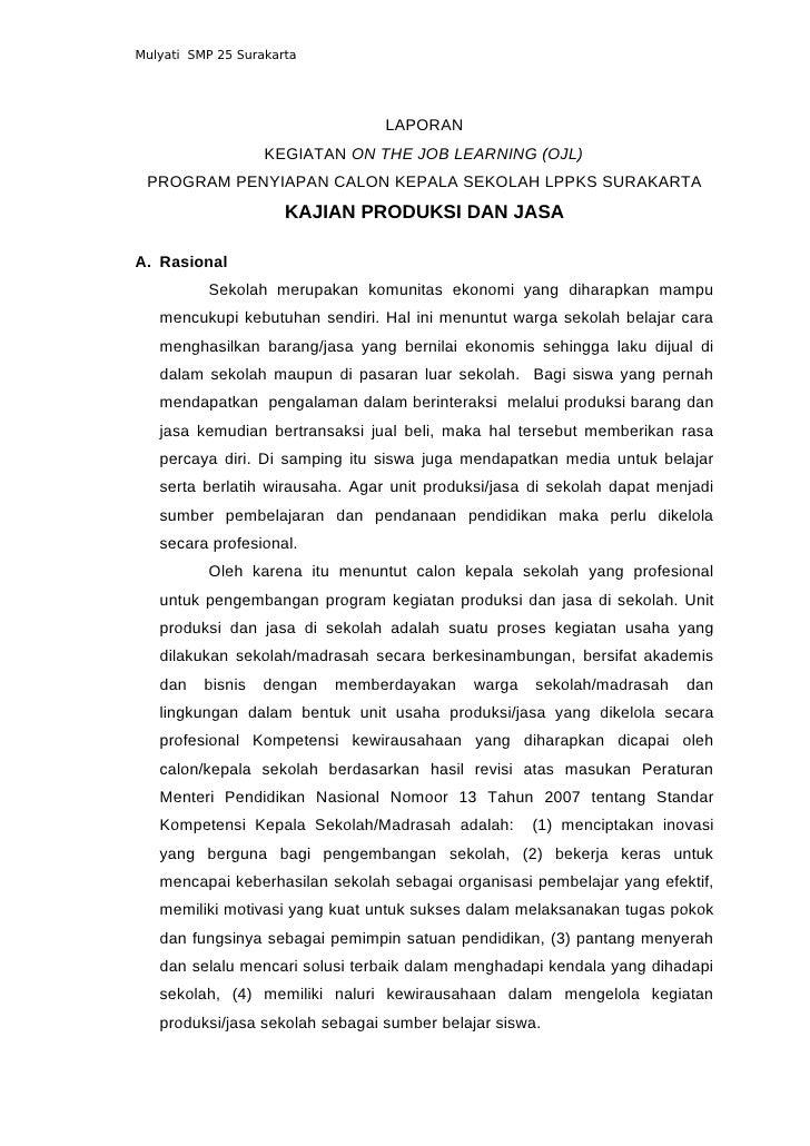 Mulyati SMP 25 Surakarta                                 LAPORAN                   KEGIATAN ON THE JOB LEARNING (OJL) PROG...