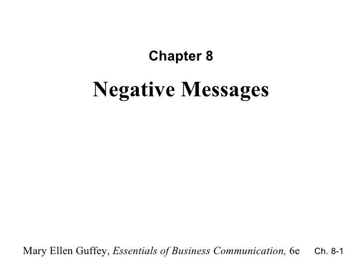 Chapter 8 Negative Messages Ch. 8-
