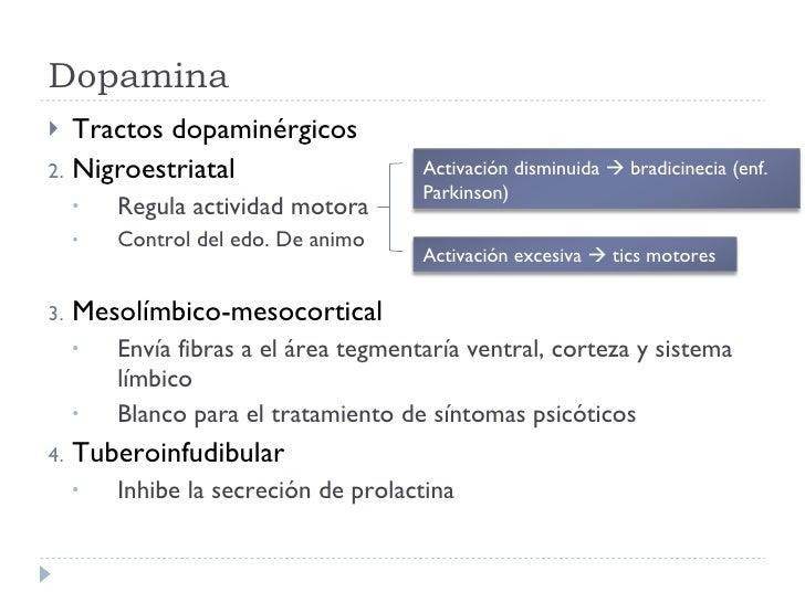 Dopamina <ul><li>Tractos dopaminérgicos </li></ul><ul><li>Nigroestriatal </li></ul><ul><ul><li>Regula actividad motora </l...